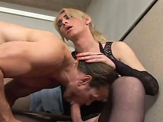 Freaky Blond Haired Lady Boy In Stockings Mouth Fucks Her Hot Stud Hard