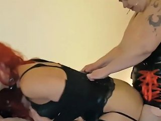 Readhead Tranny Slut Fucked Hard With Strapon